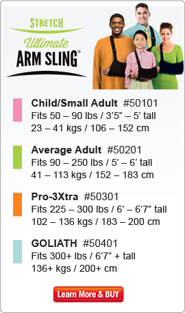 "Joslin Swathe: Child #50601 (50 - 90 lbs, 34"" length);  Adult #50501 (90 - 225 lbs, 50"" length);  GOLIATH #50701 (225+ lbs, 68"" length)"