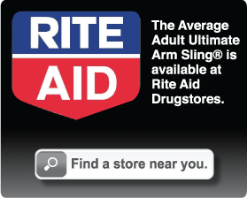 The Average Adult Ultimate Arm Sling® is available at Rite Aid Drugstores.